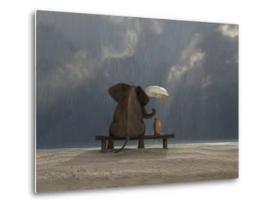 Elephant And Dog Sit Under The Rain-Mike_Kiev-Metal Print