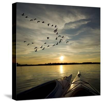 Kayaks On Lake Ontario Sunset-Gordo25-Stretched Canvas Print