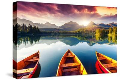 Mountain Lake In National Park High Tatra-Leonid Tit-Stretched Canvas Print