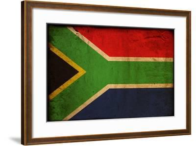 Vintage Flag Of South Africa-ilolab-Framed Art Print