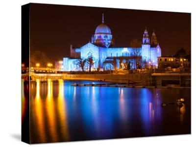 Galway Cathedral Lit Up Blue-rihardzz-Stretched Canvas Print