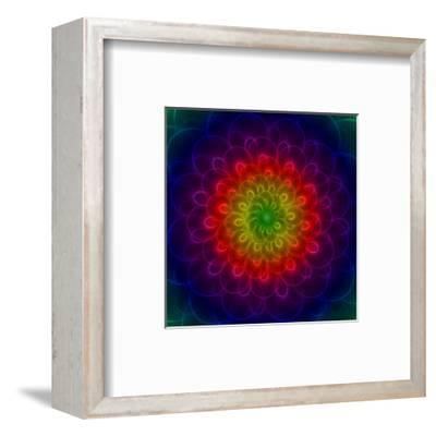 Colorful Peacoke Feather Flower- sgame-Framed Art Print