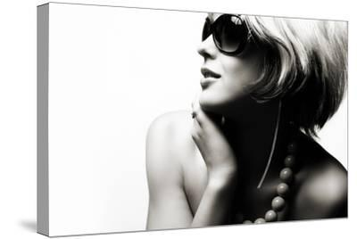 Fashion Woman Portrait Wearing Sunglasses On White Background- alial-Stretched Canvas Print