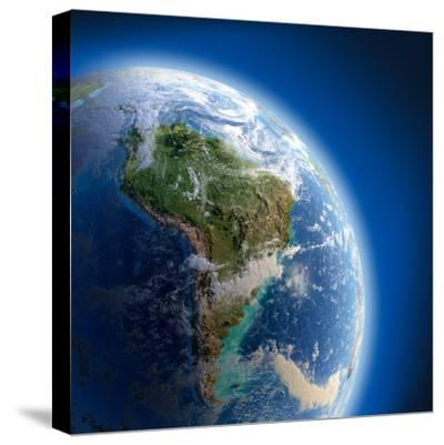 Earth With High Relief, Illuminated By The Sun-Antartis-Stretched Canvas Print