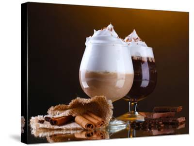Glasses Of Coffee Cocktail On Brown Background-Yastremska-Stretched Canvas Print