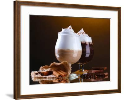 Glasses Of Coffee Cocktail On Brown Background-Yastremska-Framed Premium Photographic Print