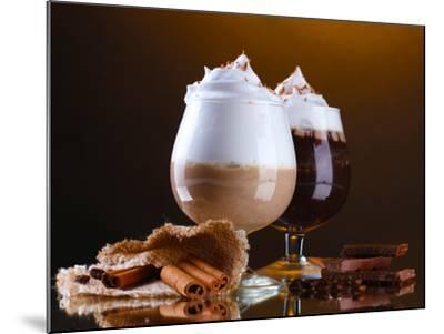 Glasses Of Coffee Cocktail On Brown Background-Yastremska-Mounted Premium Photographic Print