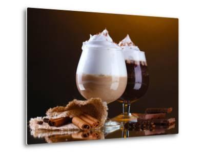 Glasses Of Coffee Cocktail On Brown Background-Yastremska-Metal Print
