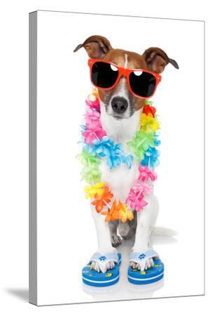 Tourist Dog With Hawaiian Lei And Shades-Javier Brosch-Stretched Canvas Print