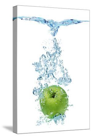Green Apple In Water-Irochka-Stretched Canvas Print