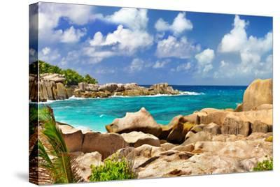 Amazing Seychelles With Unique Granite Rocks-Maugli-l-Stretched Canvas Print