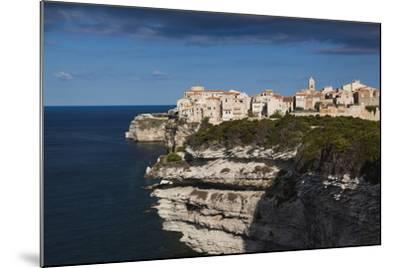 Elevated View of City and Cliffs, Bonifacio, Corsica, France-Walter Bibikow-Mounted Photographic Print