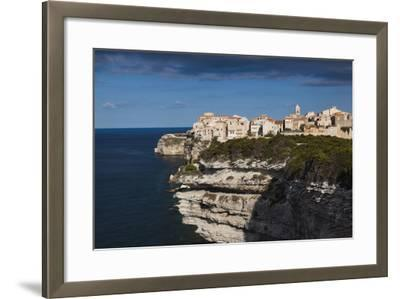 Elevated View of City and Cliffs, Bonifacio, Corsica, France-Walter Bibikow-Framed Photographic Print