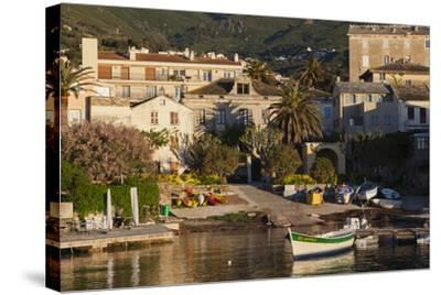 Port View at Dawn, Erbalunga, Le Cap Corse, Corsica, France-Walter Bibikow-Stretched Canvas Print
