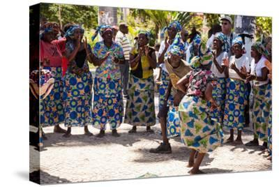 Women and Men Dancing in Traditional Dress, Benguela, Angola-Alida Latham-Stretched Canvas Print