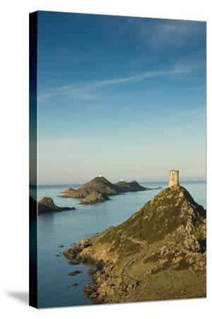 View of the Iles Sanguinaires at Dawn, Ajaccio, Corsica, France-Walter Bibikow-Stretched Canvas Print