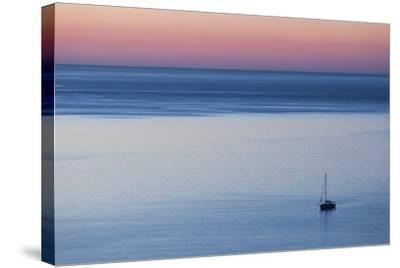 Elevated Port View at Dusk, St-Florent, Le Nebbio, Corsica, France-Walter Bibikow-Stretched Canvas Print