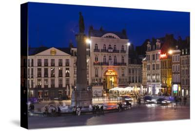 Dusk, Grand Place, Lille, French Flanders, France-Walter Bibikow-Stretched Canvas Print