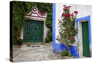Street Along Obidos, Leiria, Portugal-Julie Eggers-Stretched Canvas Print