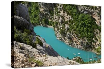 Boating in Gorges Du Verdon, Alpes De Haute Provence, France-Brian Jannsen-Stretched Canvas Print