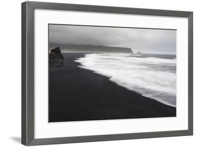 Basalt Column Rises from Black Sand Beach on Rainy Day, Vik, Iceland-Jaynes Gallery-Framed Photographic Print