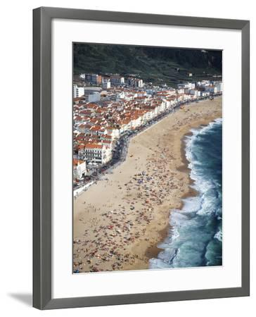 View of Town and Beach from Sitio, Nazare, Portugal-Walter Bibikow-Framed Photographic Print