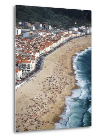 View of Town and Beach from Sitio, Nazare, Portugal-Walter Bibikow-Metal Print