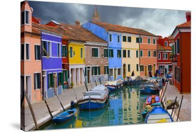 Colorful Buildings Line Canal with Boats, Burano Island, Venice, Italy-Jaynes Gallery-Stretched Canvas Print