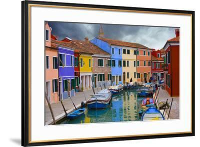 Colorful Buildings Line Canal with Boats, Burano Island, Venice, Italy-Jaynes Gallery-Framed Photographic Print