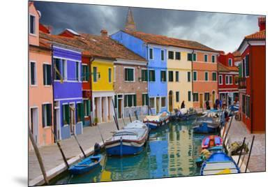 Colorful Buildings Line Canal with Boats, Burano Island, Venice, Italy-Jaynes Gallery-Mounted Photographic Print