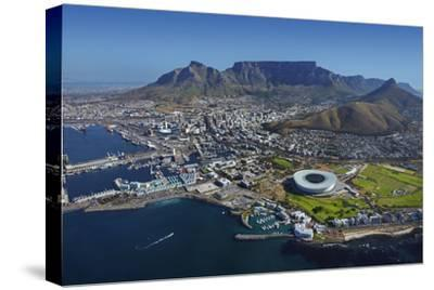 Aerial of Stadium,Waterfront, Table Mountain, Cape Town, South Africa-David Wall-Stretched Canvas Print