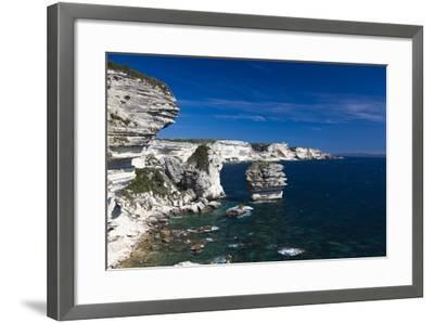 Falaises Cliffs Towards Capo Pertusato, Bonifacio, Corsica, France-Walter Bibikow-Framed Photographic Print