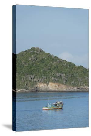 Colorful Fishing Boat Off the Coast of Buzios, Rio De Janeiro, Brazil-Cindy Miller Hopkins-Stretched Canvas Print
