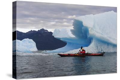Sea Kayaking Among Icebergs, Laguna San Rafael NP, Aysen, Chile-Fredrik Norrsell-Stretched Canvas Print