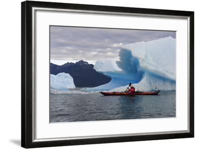 Sea Kayaking Among Icebergs, Laguna San Rafael NP, Aysen, Chile-Fredrik Norrsell-Framed Photographic Print
