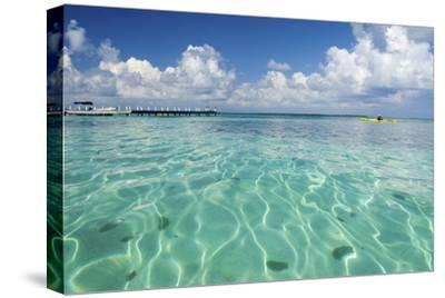 Kayaker in Blue Waters, Southwater Cay, Belize-Cindy Miller Hopkins-Stretched Canvas Print