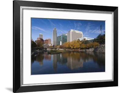 Gene Leahy Mall Skyline, Omaha, Nebraska, USA-Walter Bibikow-Framed Photographic Print