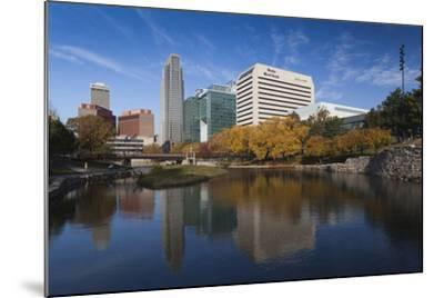 Gene Leahy Mall Skyline, Omaha, Nebraska, USA-Walter Bibikow-Mounted Photographic Print