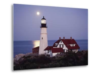 Cape Elizabeth Lighthouse with Full Moon, Portland, Maine, USA-Walter Bibikow-Metal Print