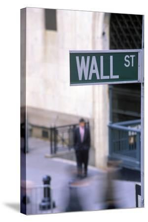 Wall Street Sign, Manhattan, New York, USA-Peter Bennett-Stretched Canvas Print