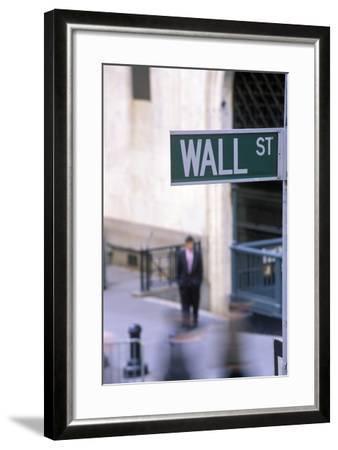 Wall Street Sign, Manhattan, New York, USA-Peter Bennett-Framed Premium Photographic Print