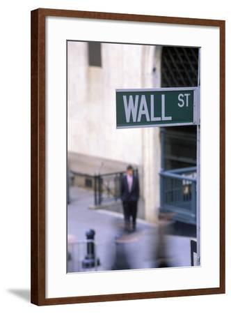 Wall Street Sign, Manhattan, New York, USA-Peter Bennett-Framed Photographic Print