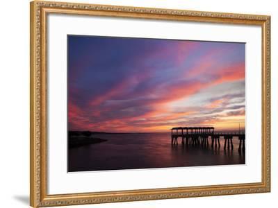 Fishing Pier at Sunset, Jekyll Island, Georgia, USA-Joanne Wells-Framed Photographic Print