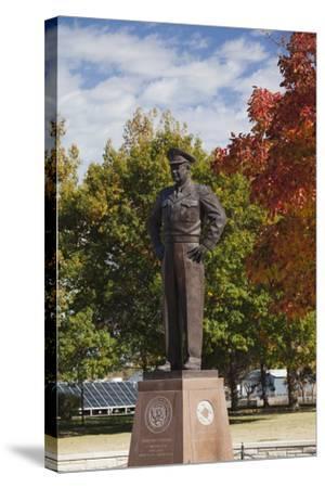 Eisenhower Statue, Abilene, Kansas, USA-Walter Bibikow-Stretched Canvas Print