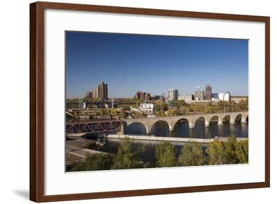 Mississippi River and City Skyline, Minneapolis, Minnesota, USA-Walter Bibikow-Framed Photographic Print