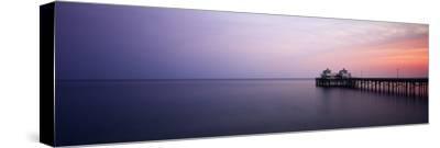Pier at Dusk, Malibu, California, USA-Walter Bibikow-Stretched Canvas Print