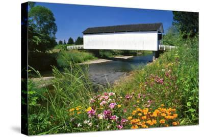 Gallon House Covered Bridge over Abiqua Creek, Oregon, USA-Jaynes Gallery-Stretched Canvas Print