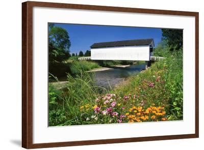 Gallon House Covered Bridge over Abiqua Creek, Oregon, USA-Jaynes Gallery-Framed Photographic Print