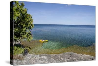 Cave Point County Park, Lake Michigan, Door County, Wisconsin, USA-Cindy Miller Hopkins-Stretched Canvas Print