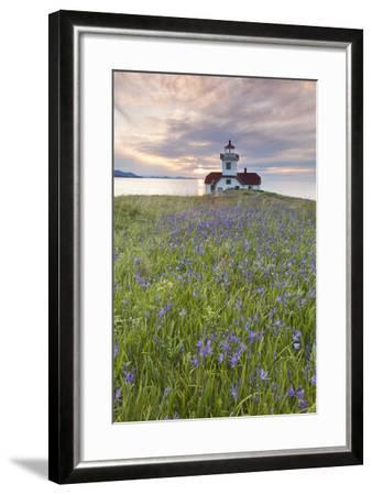Sunset on Patos Island Lighthouse, San Juan Islands, Washington, USA-Jaynes Gallery-Framed Photographic Print